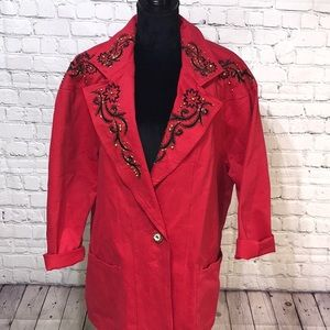 Vintage Embellished Red Blazer With Bling 1X